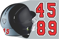 BGRA Bearcats Baseball & Softball Batting Helmet Number Sheets - 0-9 full Team Colors, look like the Pros