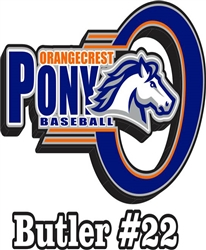 Orangecrest Pony Baseball Customized Car Window Decals