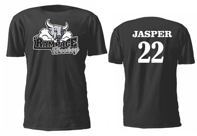 Jr rampage hockey custom designed hockey team shirts for Custom t shirts with custom tags