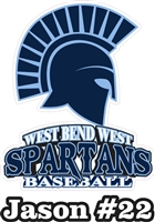 West Bend West Spartans Baseball Custom Stickers for Car Windows