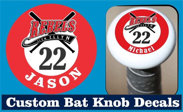 Custom bat knob decals view larger photo email