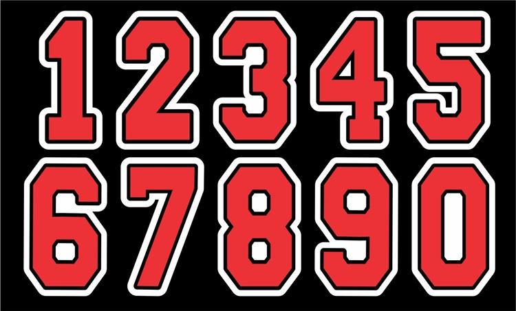 BGRA Baseball Club Custom Helmet Numbers - Custom Helmet Number Sheet