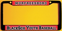 Murfreesboro Blacksox Baseball Custom License Metal Plate Frame