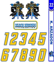 Black Knights Hockey Custom Helmet Decals, Number Sheet, Stick Tags Combo