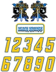 Black Knights Hockey Custom Helmet Decals and Numbers