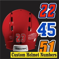 Hockey Helmet Numbers | Individually Cut for each Player
