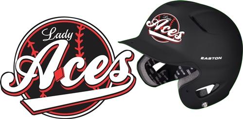 Custom Baseball Batting Helmet Decal Lady Aces Softball - Motorcycle helmet decals for ladies