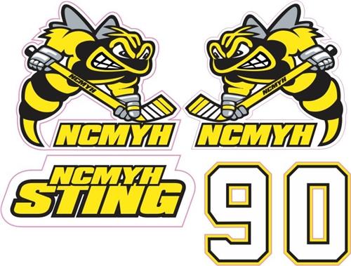 NCMYH Custom Hockey Helmet Decals  Helmet Numbers TAGSports - Helmet decals