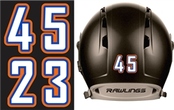 Orangecrest Pony Baseball | Fastpitch Softball Batting Helmet Number Sheets - 0-9 full Team Colors, look like the Pros