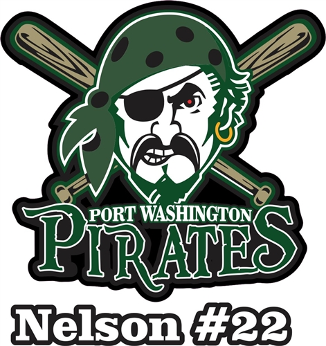 Port Washington Pirates Youth Baseball Custom Car Window Decals - Custom car decals baseball