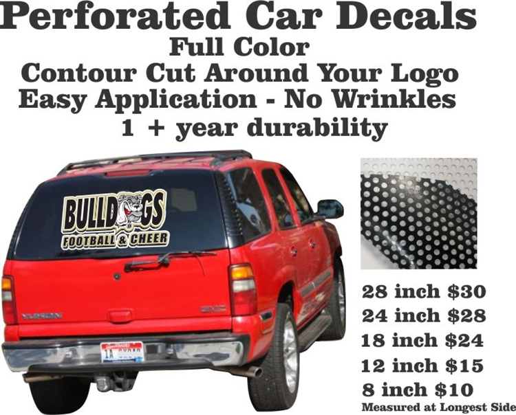 Custom Perforated Car Window Decals Custom Car Stickers TAGSports - Car windshield decals custom