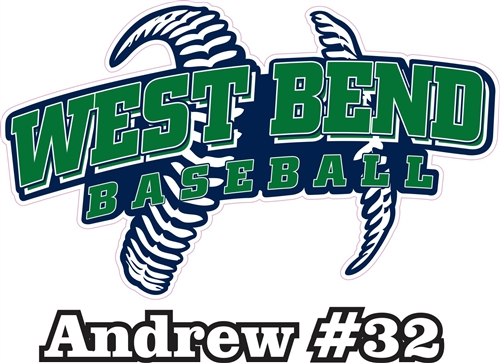 West Bend Bulldogs Custom Baseball Car Window DecalsStickers - Decals for your car