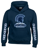 West Bend West Spartans Youth Baseball Long Sleeve Navy Custom Hoodies