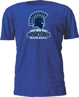 West Bend West Spartans Youth Baseball Roundneck Cotton Royal Custom T-Shirt